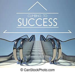 Climbing to success concept with stairway