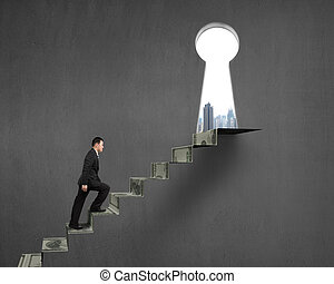 Climbing to top of money stairs with key hole and city view