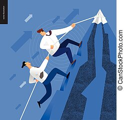 Climbing up, business concept