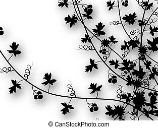 Editable vector illustration of vines with background shadow made using a gradient mesh