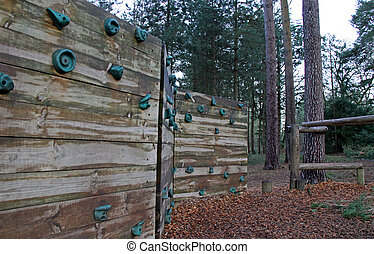 Climbing wall obstacle on an assault course - A climbing ...