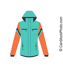 Climbing winter jacket isolated vector icon. Outdoor...