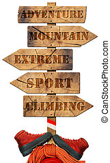 Climbing - Wooden Directional Sign - Wooden directional sign...