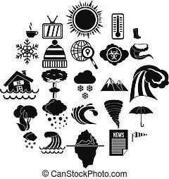 Clime icons set. Simple set of 25 clime vector icons for web isolated on white background
