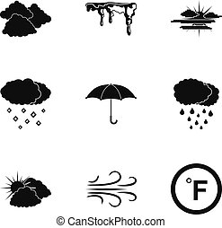 Clime icons set. Simple set of 9 clime vector icons for web isolated on white background