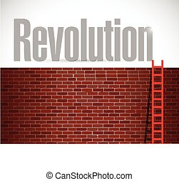 clime to revolution. illustration design over a brick wall ...