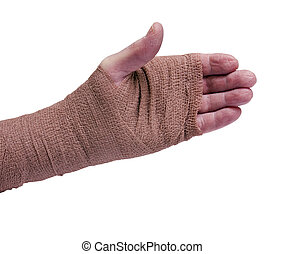 elastic cling bandage on left arm and hand isolated over white background with clipping path at original size