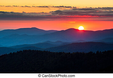 Clingmans Dome Great Smoky Mountains National Park Scenic Sunset