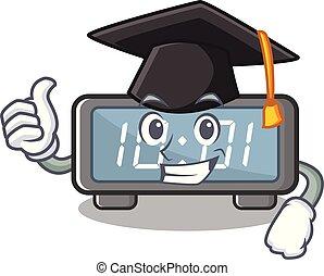 clings, digital, caricatura, reloj pared, graduación