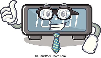 clings, hombre de negocios, digital, caricatura, reloj pared