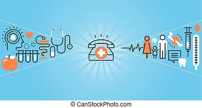 Clinic and hospital facilities - Flat line design website...