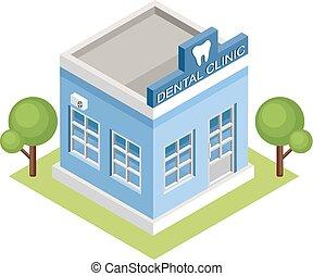 clinic., dentaire, isométrique