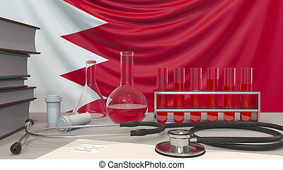 Clinic laboratory equipment on Bahraini flag background. Healthcare and medical research in Bahrain related conceptual 3D rendering