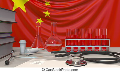 Clinic laboratory equipment on Chinese flag background. Healthcare and medical research in China related conceptual 3D rendering