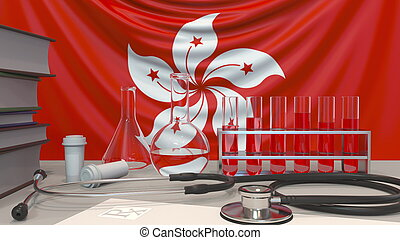 Clinic laboratory equipment on flag background. Healthcare and medical research in Hong Kong related conceptual 3D rendering