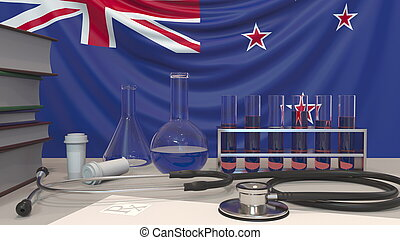 Clinic laboratory equipment on flag background. Healthcare and medical research in New Zealand related conceptual 3D rendering
