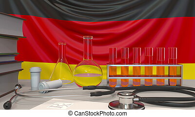 Clinic laboratory equipment on German flag background. Healthcare and medical research in Germany related conceptual 3D rendering