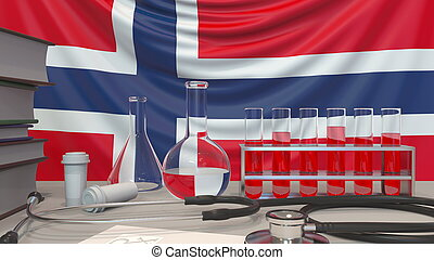 Clinic laboratory equipment on Norwegian flag background. Healthcare and medical research in Norway related conceptual 3D rendering
