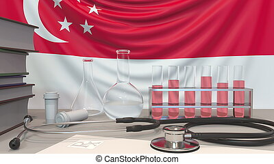 Clinic laboratory equipment on Singaporean flag background. Healthcare and medical research in Singapore related conceptual 3D rendering