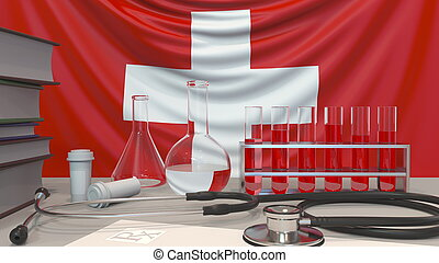 Clinic laboratory equipment on Swiss flag background. Healthcare and medical research in Switzerland related conceptual 3D rendering