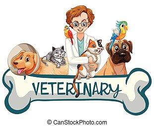 clinica, bandiera, veterinario