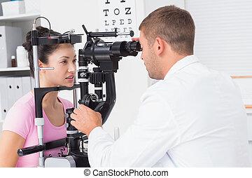 clinica, esaminati, femmina, ottico, paziente, essendo