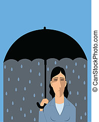 Sad man under umbrella, raining inside, vector cartoon