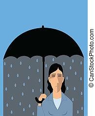 Clinical depression - Sad man under umbrella, raining inside...
