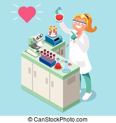 Clinical Laboratory People Isometric Icons Vector