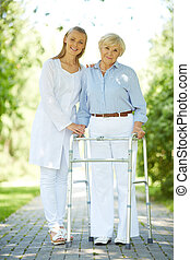 clinician, és, idősebb ember, türelmes