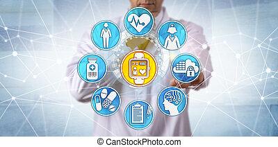 clinician, lehallgatás, türelmes, alatt, klinikai, megpróbáltatás