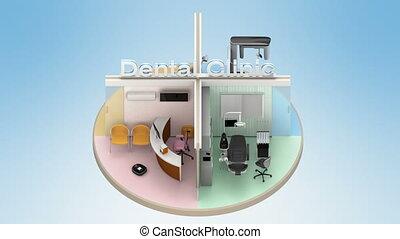 clinique, animation, dentaire, faire boucle