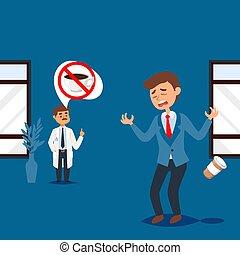 clinique, docteur, monde médical, régime, healthcare, homme, restriction, gens, vecteur, forbids, illustration, désordre, café