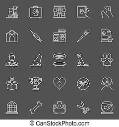 clinique, vétérinaire, icônes