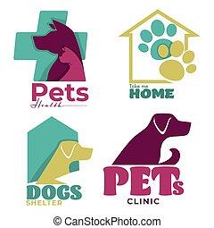 clinique, vétérinaire, logo, santé, chiens, conceptions, animaux familiers, abri