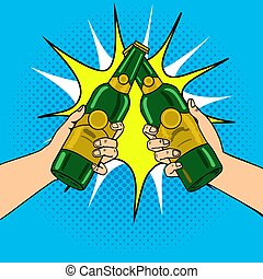 Clink beer bottles pop art vector illustration. Comic book...
