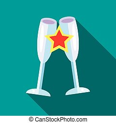 Clink glasses icon, flat style