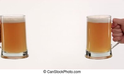 clink glasses with beer