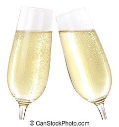 clink glazen, met, het fonkelen, champagne