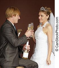 clinking, bebendo, champanhe, recém casado, óculos