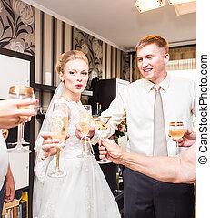 clinking, convidados, óculos, casório