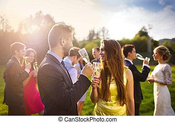 clinking, convidados casamento, óculos