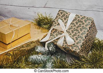 clinquant, boîtes, dons, 3, sapin, noël, rubans, branche, cadeau