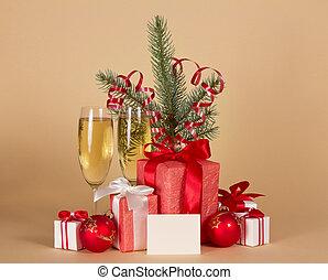 clinquant, cadeau, sapin, champagne, boîtes, branche