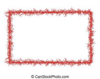 clinquant, cadre, isolé, white., noël, rouges