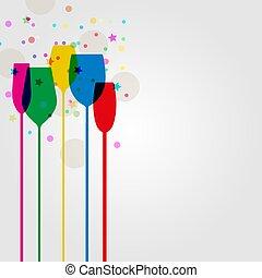 clinquant, coloré, cocktail, silhouettes, fête, lunettes