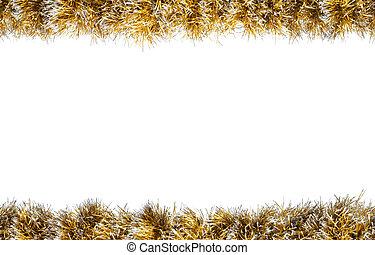 clinquant, or, seamless, isolé, arrière-plan., noël blanc, argent, frame.