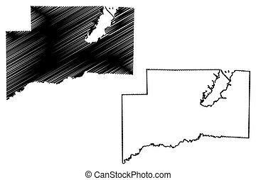 Clinton County, Illinois (U.S. county, United States of America, USA, U.S., US) map vector illustration, scribble sketch Clinton map