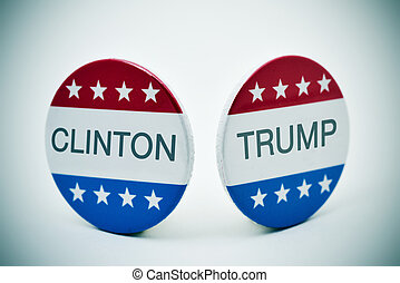 Clinton vs Trump - the names of Clinton and Trump written in...