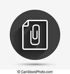 clip, anexo, símbolo., papel, arquivo, icon.